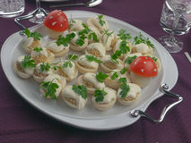 Egg salad with parsley and tomato. Home made egg salad with chicken liver, mayo and parsley leaves. Funny looking mushrooms made of tomato  as decoration. Placed Stock Photo