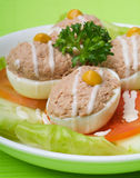 Egg. salad plate of letuce egg tuna and olive Stock Images