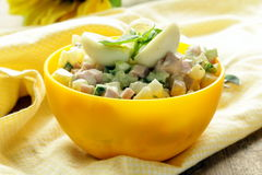 Egg salad with quail eggs, cucumber Stock Photos
