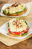 Egg salad sandwhich on a white plate Stock Photos