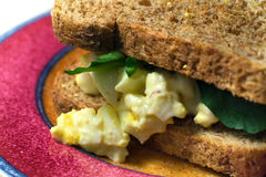 Egg Salad Sandwich. Closeup of egg salad sandwich on a plate stock image