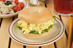 Egg salad sandwich on a bagel Royalty Free Stock Image