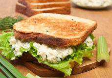 Egg Salad Sandwich on Chopping Board Stock Photo
