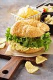 Egg salad sandwich on croissant Royalty Free Stock Photo