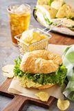 Egg salad sandwich on croissant Royalty Free Stock Photography