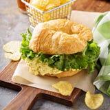 Egg salad sandwich on croissant Royalty Free Stock Image