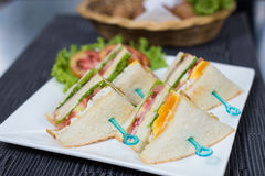 Egg Salad Sandwich. On white dish Royalty Free Stock Photography