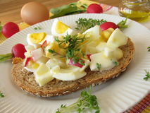 Egg salad on spelt bread Stock Photography