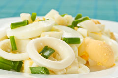 Egg salad and squid Royalty Free Stock Images