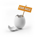 Egg for sale with clipping path. The broken egg for sale with signboard. Has clipping path Royalty Free Stock Photo