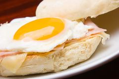 Egg sandwich. Close up in white plate Royalty Free Stock Photo