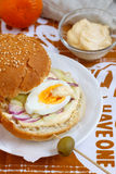 Egg sandwich. With homemade mayonnaise, celery and red onion Stock Image