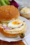 Egg sandwich. With homemade mayonnaise, celery and red onion Stock Photo