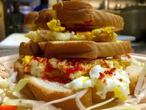 Egg sandwich. Closeup royalty free stock images