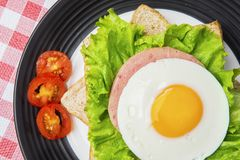 Egg sandwich decorated with sliced tomato. Top view of yummy egg sandwich decorated with sliced tomato on the plate Stock Photos