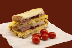 Egg And Sausage Sandwich Stock Photo