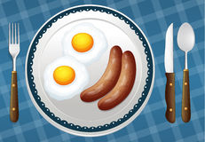 Egg and sausages Royalty Free Stock Images