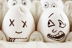 Egg is scared of dead naber. Egg screams as it sees dead naber Royalty Free Stock Photo