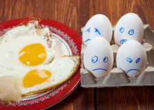 Egg with scared face and fried egg Royalty Free Stock Image