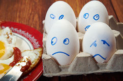Egg with scared face and fried egg Stock Photography