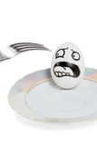 Egg scared fork Stock Photography