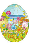 Egg 2 sea color. Marine and floral landscape drawing on Easter egg vector pattern brightly spring colored Royalty Free Stock Photos