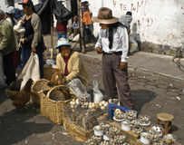 Egg Seller, Street Market, Ecuador Stock Photos