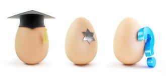 Egg set Graduation cap, Question mark on a white background Stock Image