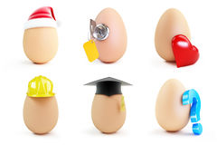 Egg set on a white background Stock Images