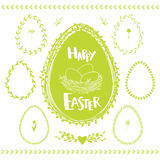 Egg shape floral frames for Easter. Vector floral frames in shape of eggs  on white. Decorative set for Easter with flowers, wreaths, frames and borders Royalty Free Stock Photography