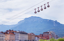 Egg-shaped cable cars. Royalty Free Stock Images