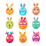 Egg Shaped Easter Bunny In Different Designs Stock Photography