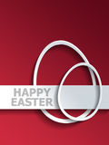 Egg shaped outlines next to Happy Easter label Stock Photo