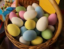 Egg shaped sugared candy stuffed with chocolate  in a pastry shop. They are prepared for spring and easter season.  royalty free stock photos