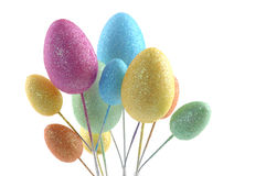 Egg Shapes. Bouquet of glittering egg shapes on a white background Stock Photography