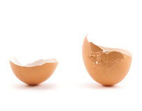 Egg shell cracked in two parts Stock Photos