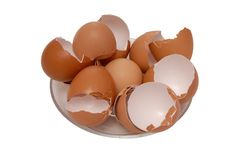 Egg shell is on plate Royalty Free Stock Photo