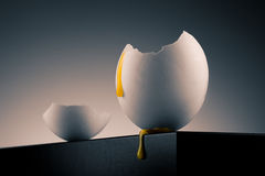 Egg shell with yolk Royalty Free Stock Photography