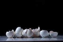 Egg shells. Broken egg shells on a black background stock image