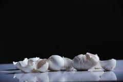Egg shells. Broken egg shells on a white background stock photography