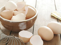 Egg shells in clay bowl Royalty Free Stock Photo