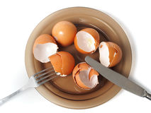 Egg shells on a dish Stock Photo