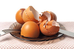 Egg shells on a table Stock Photo