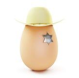 Egg sheriff hat. On a white background Royalty Free Stock Photo