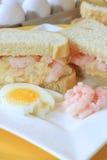 Egg and shrimp salad sandwich stock photo