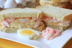 Egg and shrimp salad sandwich stock image