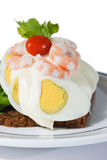Egg and shrimp sandwich Stock Images