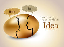 Egg with silhouettes speech bubble, Idea exchange concept Royalty Free Stock Image