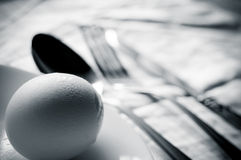 Egg with silverware Royalty Free Stock Photos