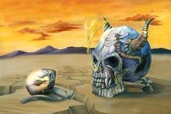 Egg and Skull Painting. Oil painting of an egg reflecting an evil skull in a barren desert Stock Image
